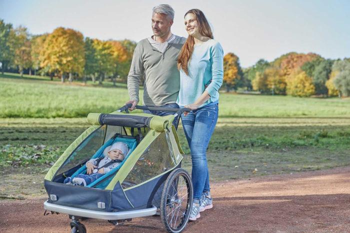 Croozer Kid for 2 Kinderfahrradanhänger Modell 2018 im Einsatz